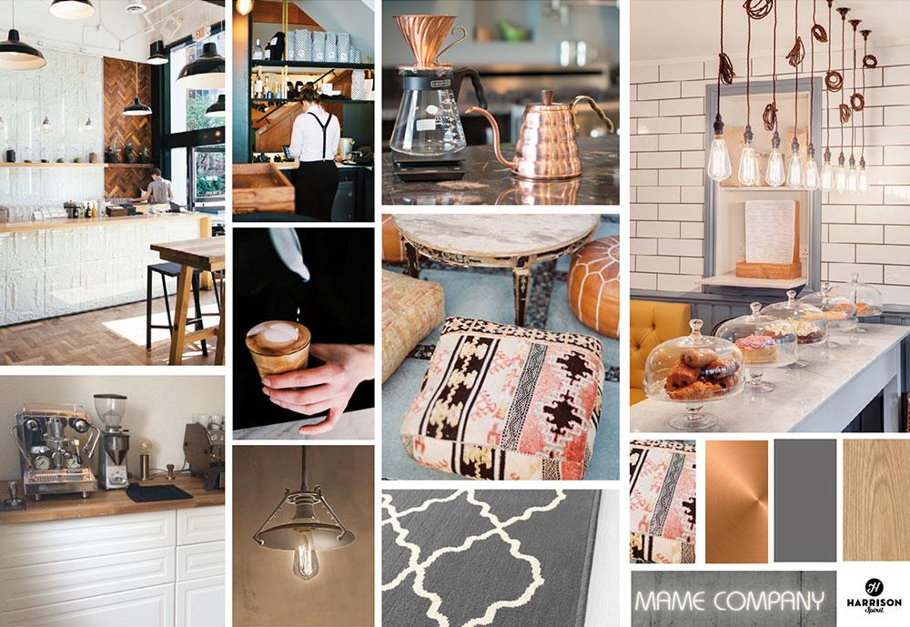 MAME Coffee Interior Concept Moodboard by Harrison Spirit
